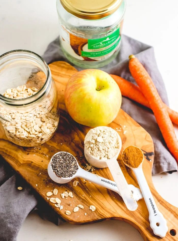 Ingredients for Apple Cinnamon Oatmeal Recipe - Running on Real Food
