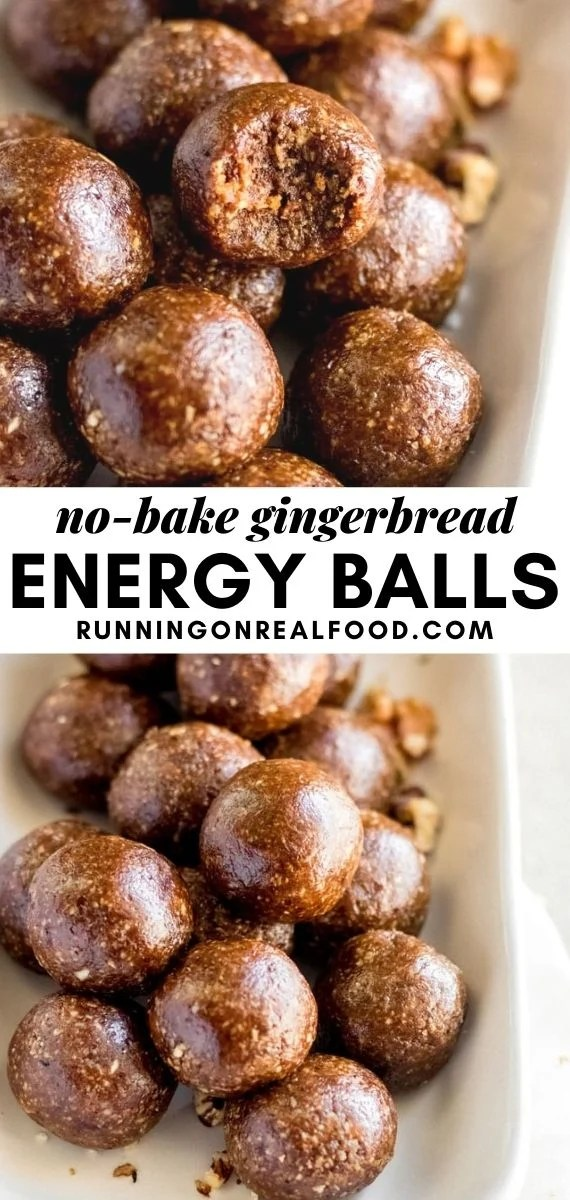Pinterest graphic with an image and text for gingerbread balls.