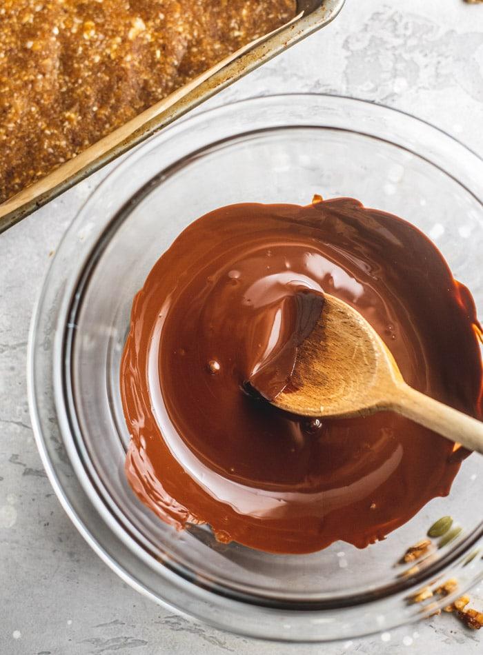 No-Bake Vegan Tahini Cashew Bars with Chocolate Coating - Running on Real Food