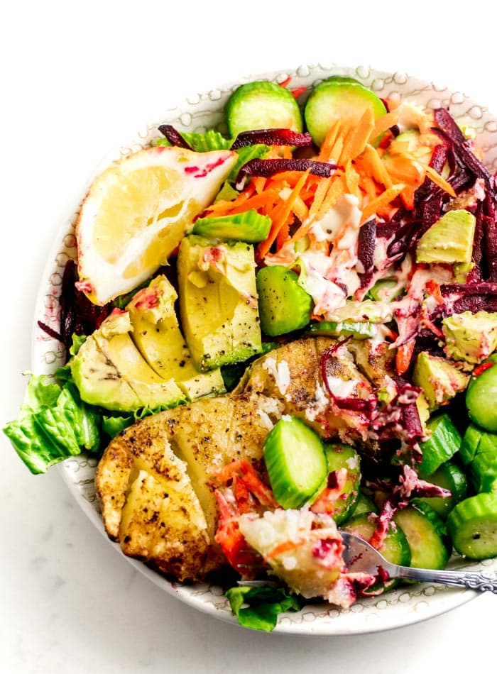 Roasted Potato Avocado Buddha Bowls Recipe - Running on Real Food
