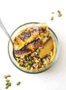 Vegan Squash Protein Pudding Breakfast Bowls with Caramelized Banana - Running on Real Food