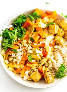 Vegan Sweet Potato Cabbage Cashew Stir Fry with Tofu - Running on Real Food