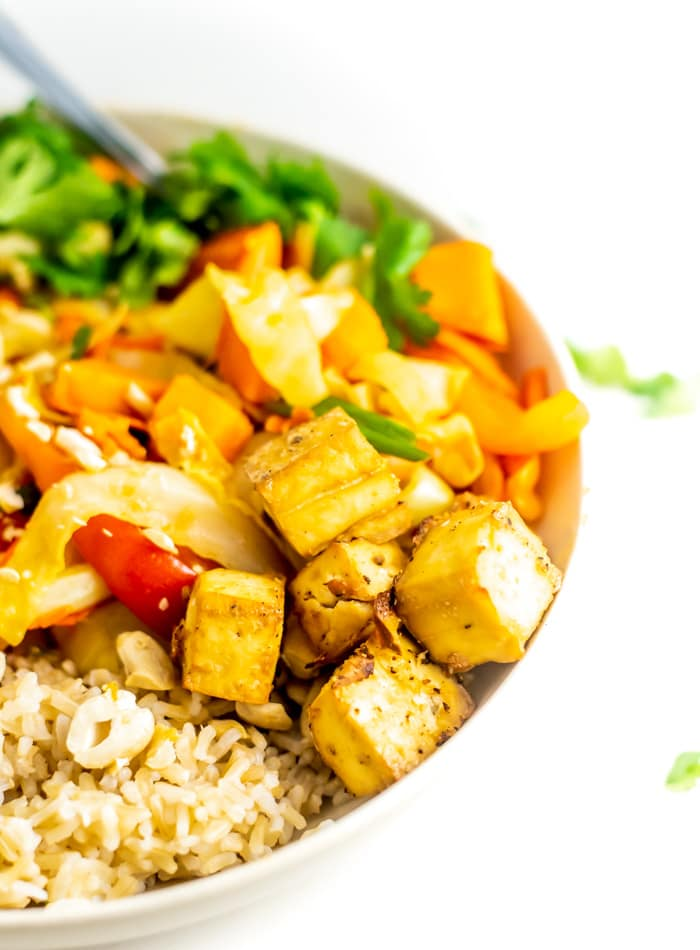 Healthy Vegan Cashew Cabbage Stir Fry with Tofu and Sweet Potato