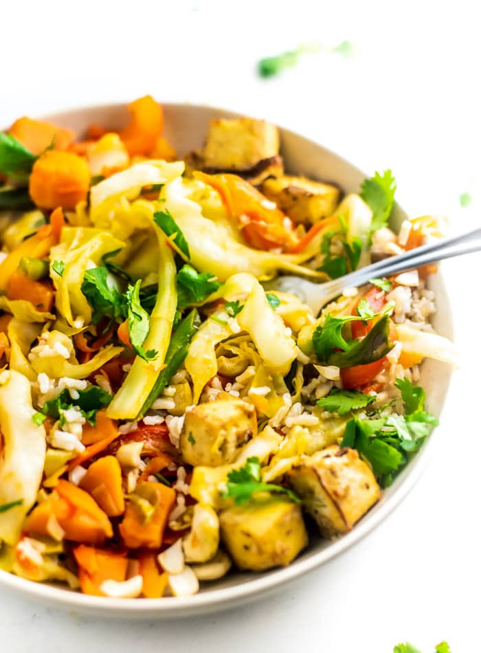 Vegan Sweet Potato Cabbage Cashew Stir Fry with Bake Tofu Recipe
