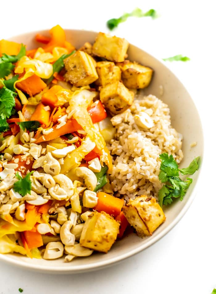 Cabbage Cashew Sweet Potato Stir Fry with Baked Tofu and Brown Rice - Running on Real Food
