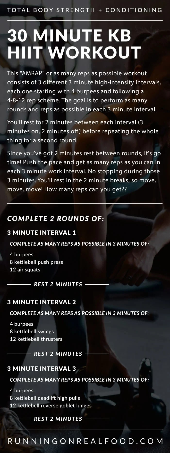 30 Minute Kettlebell HIIT Workout for the Gym - Running on Real Food