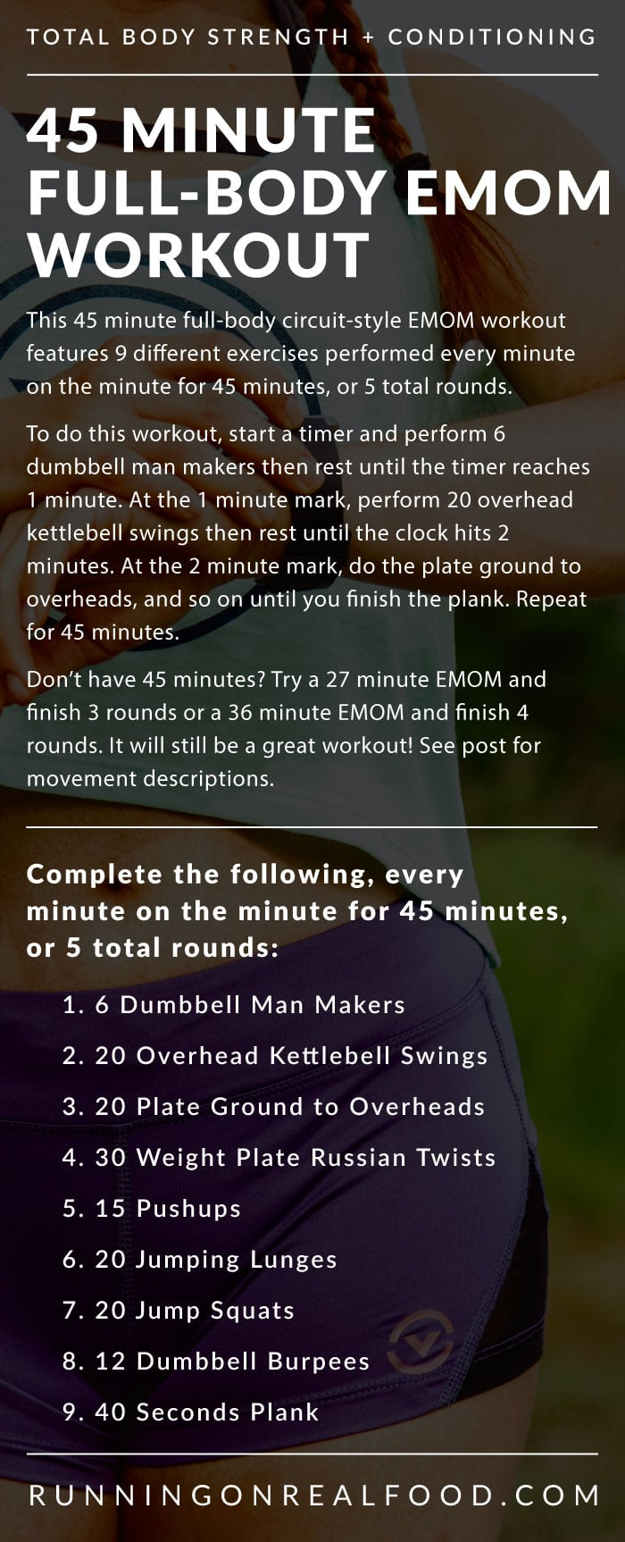 45 Minute EMOM Conditioning Workout for the Gym from Running on Real Food