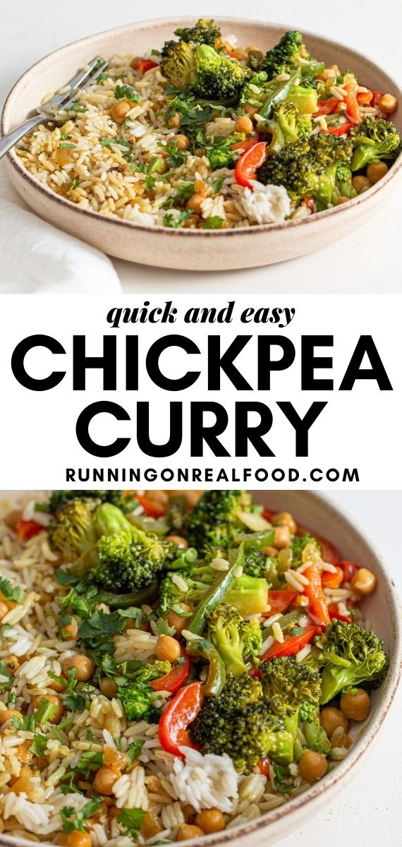 Pinterest graphic with an image and text for chickpea curry.