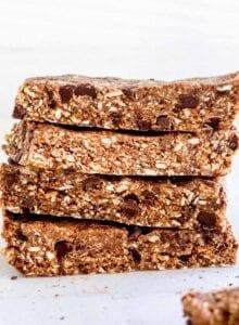 Stack of 4 chocolate chip granola bars.