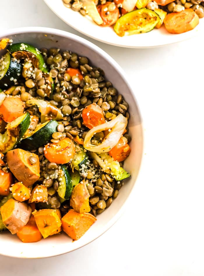 Healthy Vegan Lentil Salad Recipe - Running on Real Food