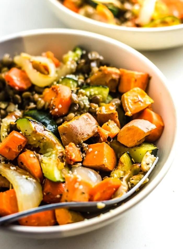 Vegan Roasted Vegetable Lentil Salad Recipe - Running on Real Food