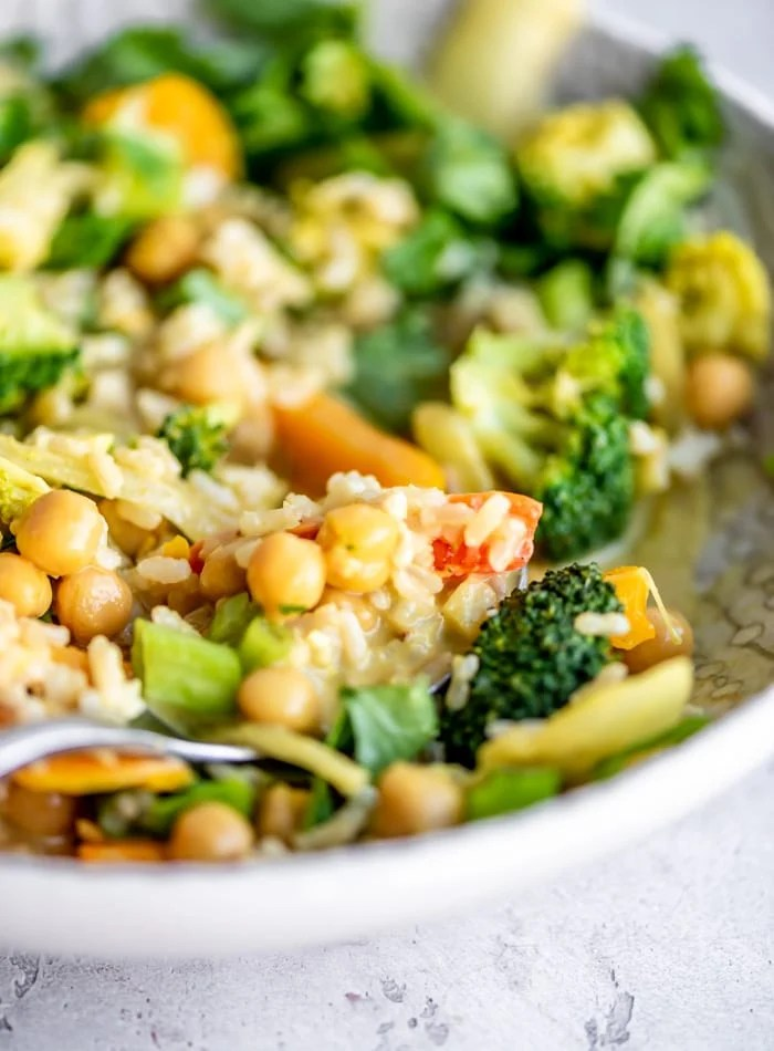 Vegan Chickpea Curry Recipe with Coconut Milk and Veggies - Running on Real Food