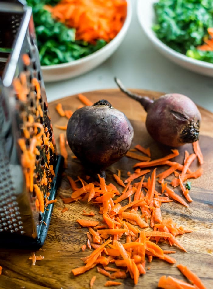 Beet and Carrot Kale Salad Ingredients - Running on Real Food