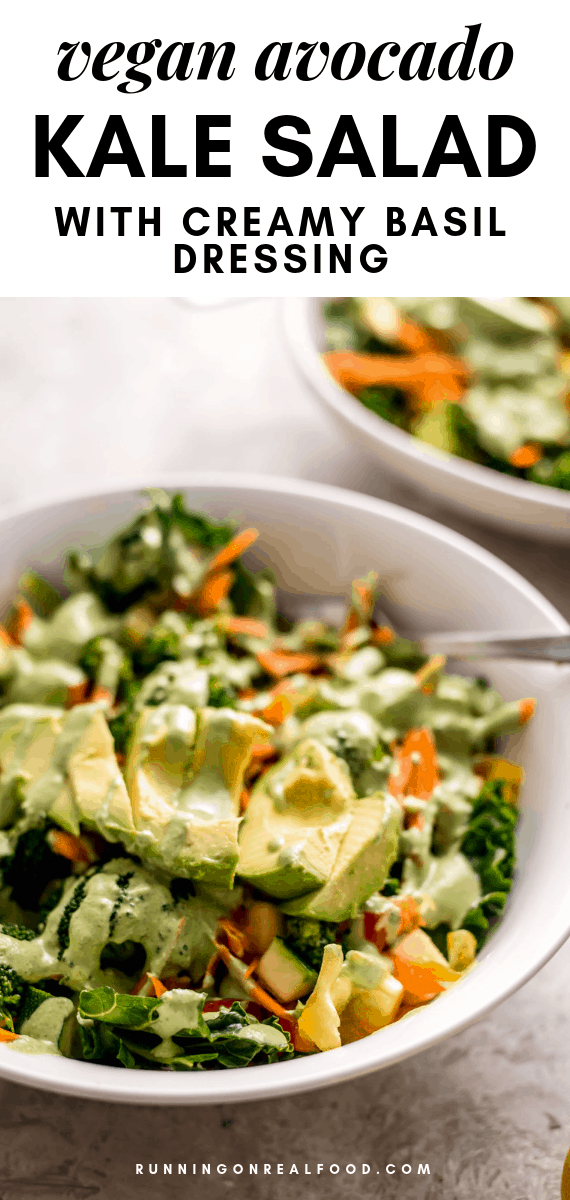 Avocado Kale Salad with Creamy Basil Dressing Recipe