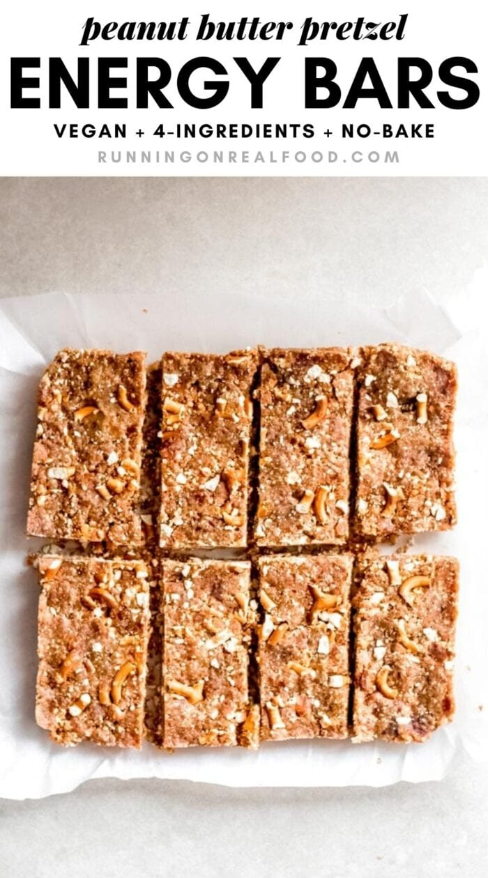 Pinterest graphic with an image and text for sweet and salty peanut butter bars.