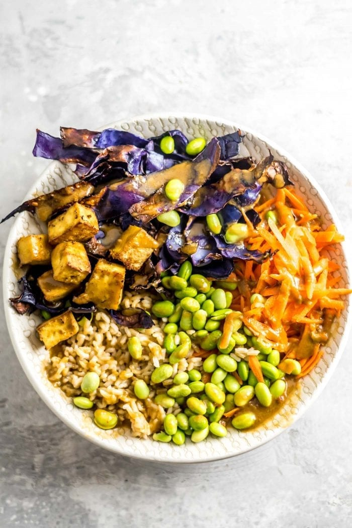 Brown Rice Tofu Buddha Bowls with Edamame