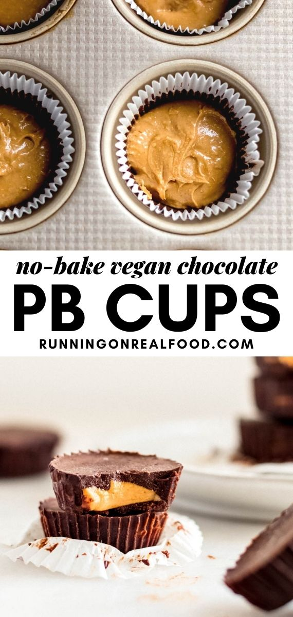 Pinterest graphic with an image and text for chocolate peanut butter cups.
