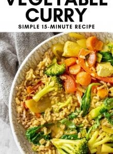 Pinterest image for quick and easy vegan curry.