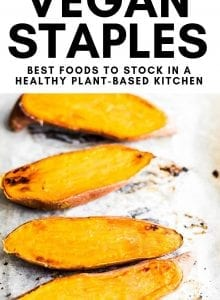 Pinterest graphic with text for top 25 healthy vegan staple foods.