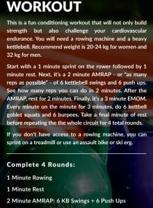 Workout details for a 40 minute kettlebell and rowing workout.