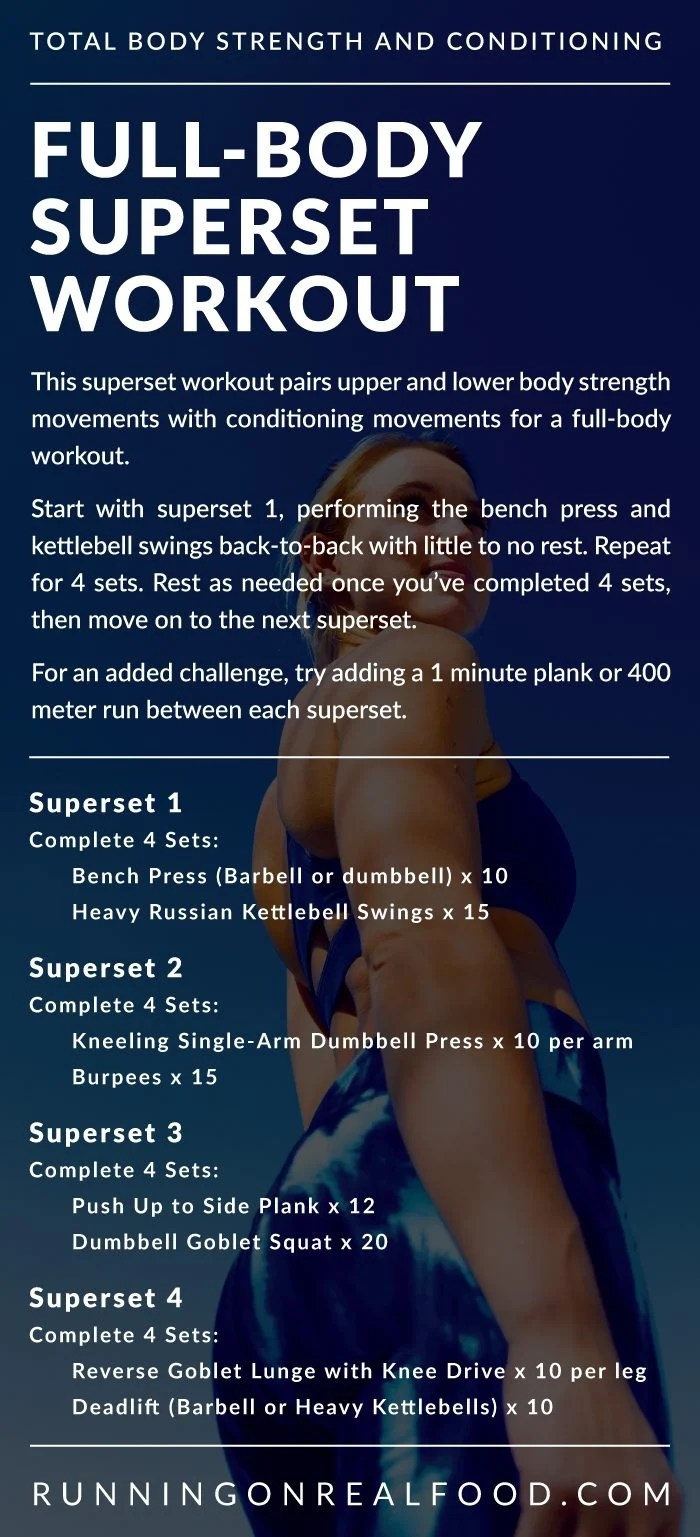 Description and instructions for full-body superset workout.