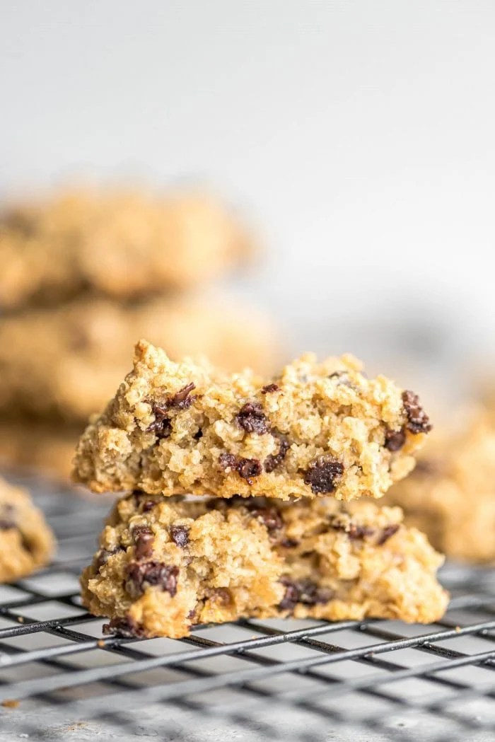 Close up of the inside of chocolate chip quinoa cookies showing the texture.