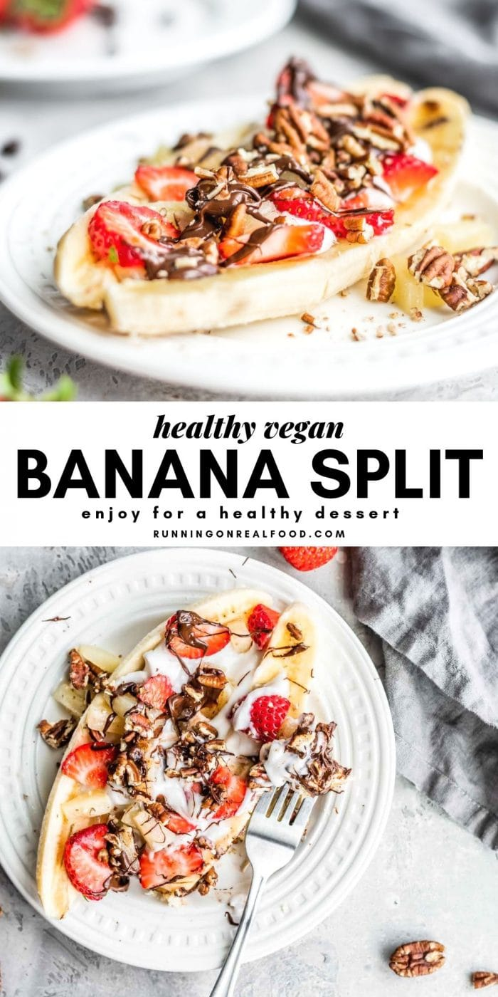 Healthy Vegan Banana Split Pinterest Graphic