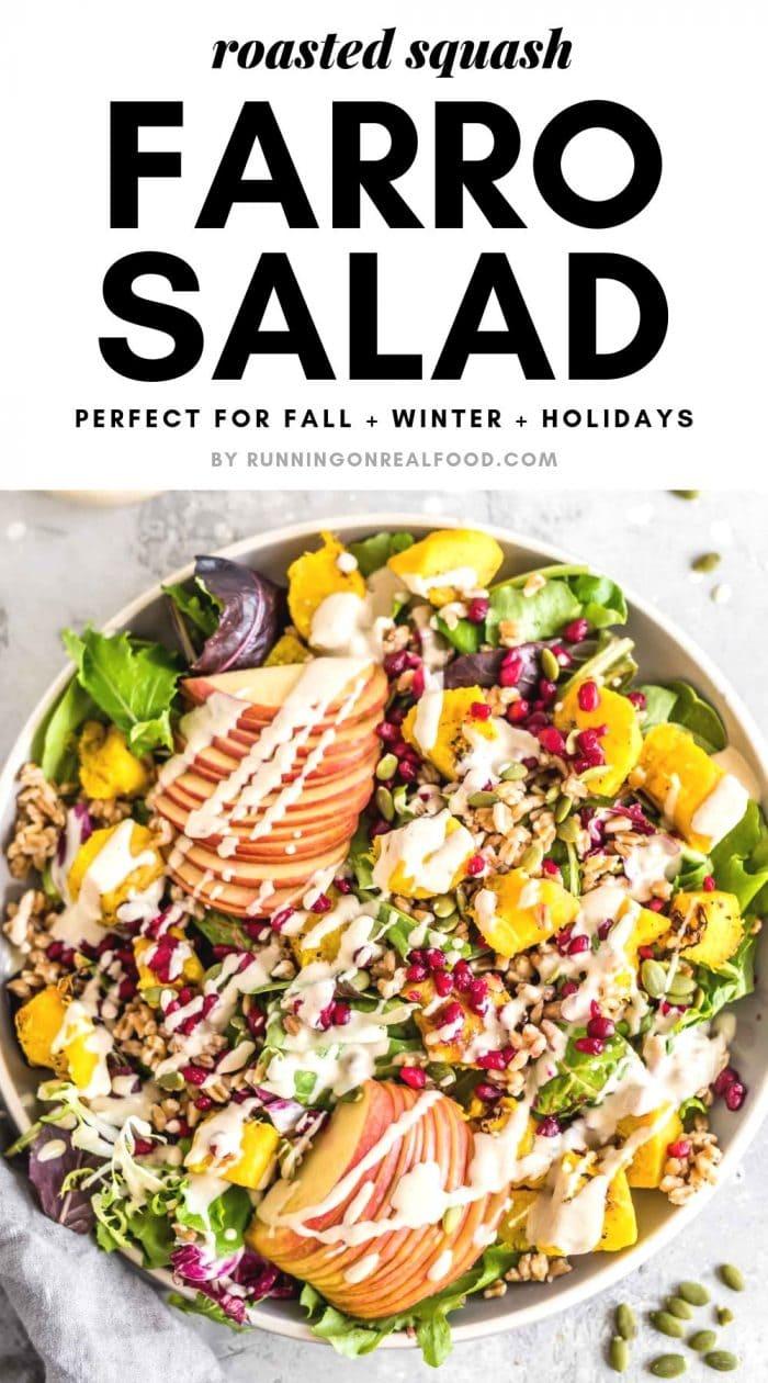Pinterest graphic for farro salad.