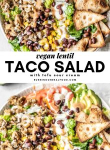 Pinterest image for vegan lentil taco salad.