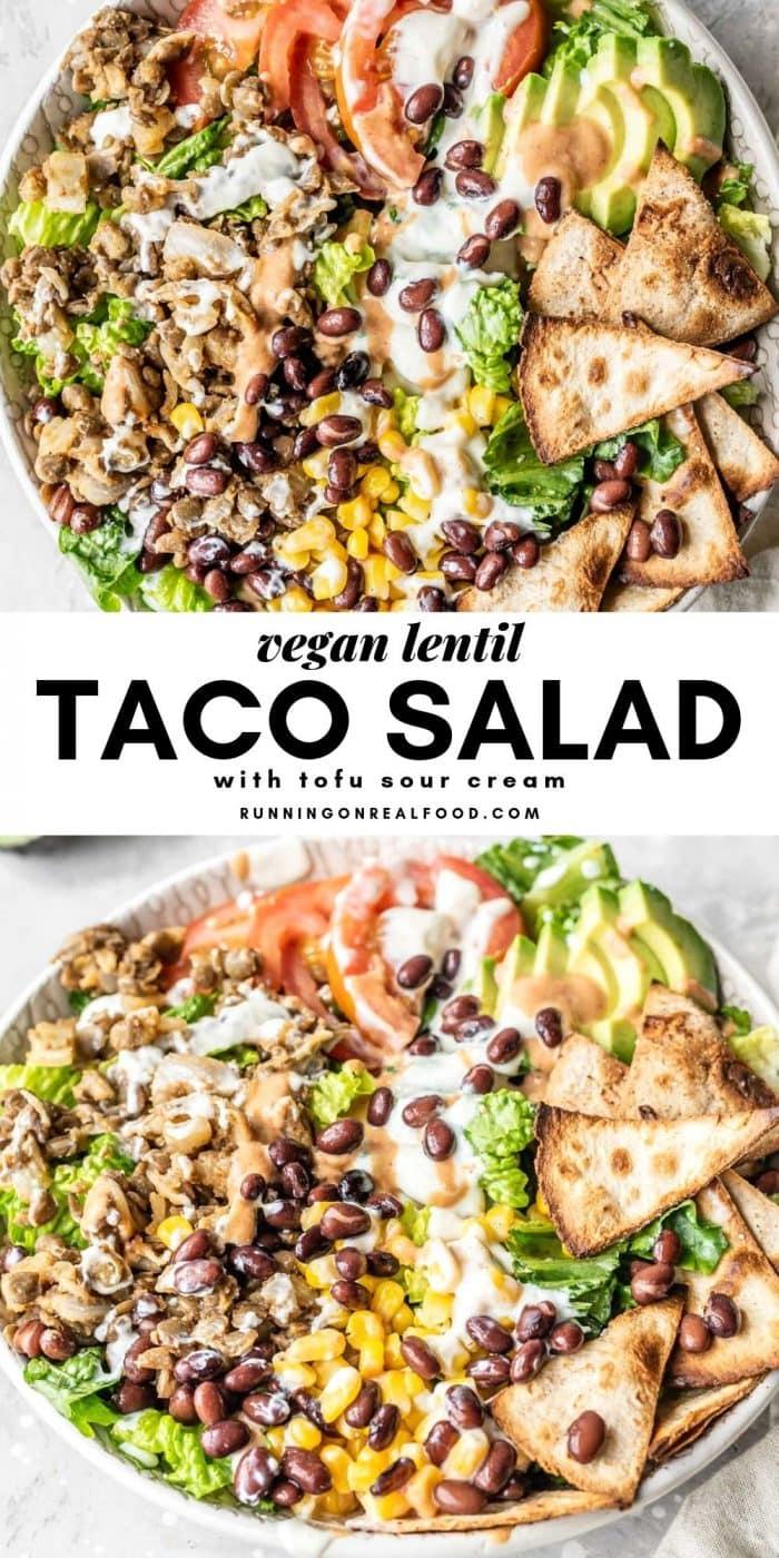 Pinterest image for vegan lentil taco salad.
