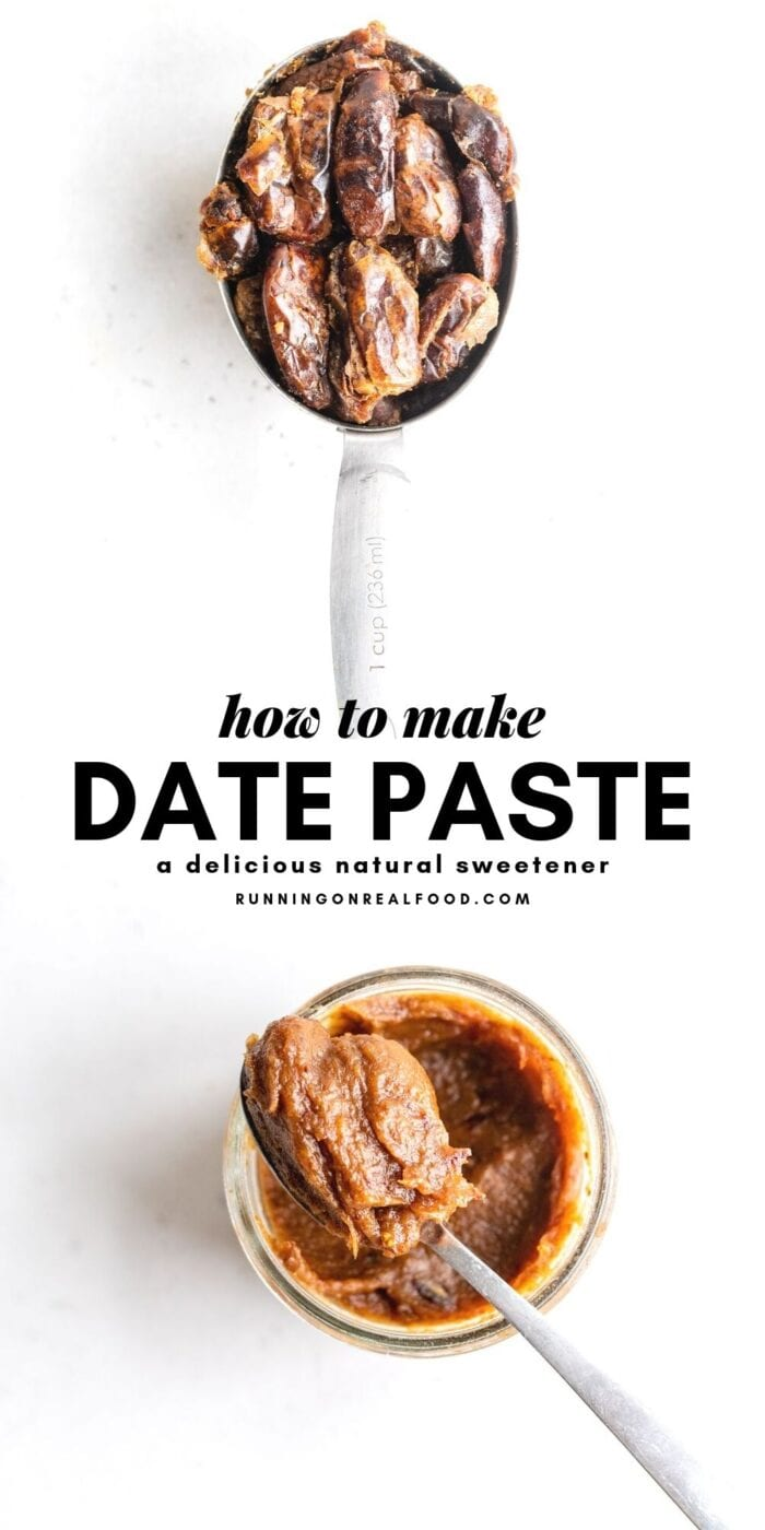 Pinterest graphic with text overlay for how to make date paste.