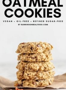 Pinterest graphic with text overlay for healthy oatmeal cookies.
