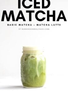 Pinterest graphic for an iced matcha recipe.