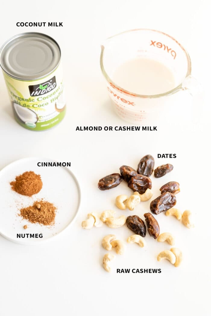 Ingredients for making vegan eggnog.
