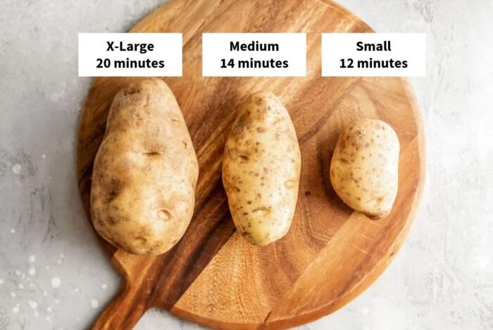 Instant Pot cooking times for small, medium and large Russet potatoes.