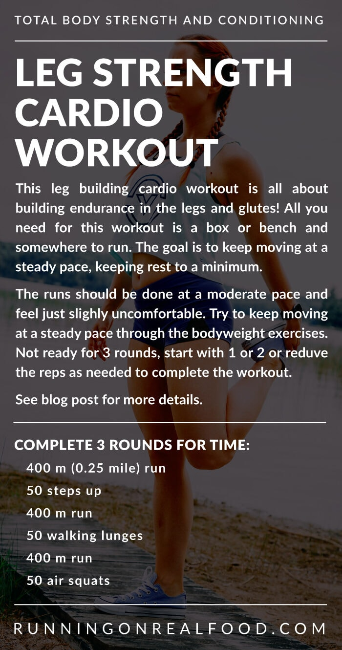 Workout details for a leg strength cardio workout.