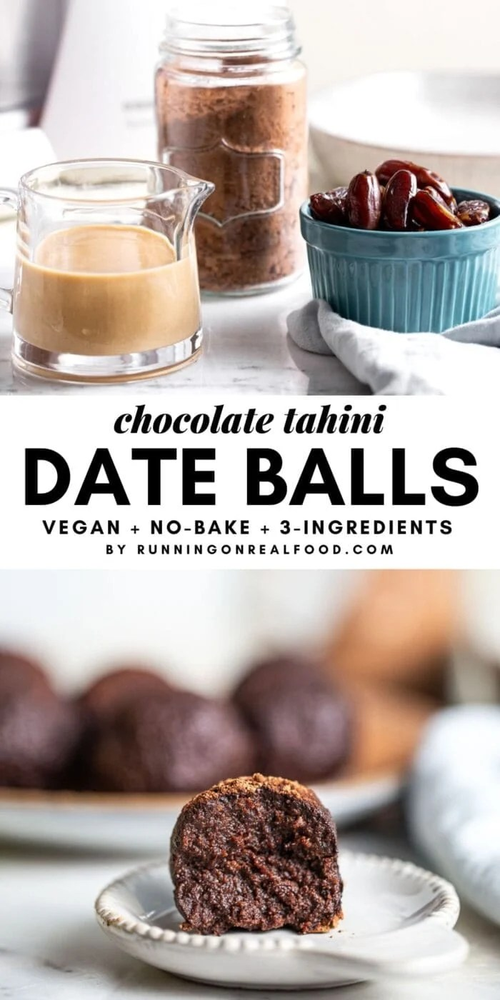 Pinterest graphic with an image and text overlay for chocolate date balls.