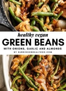 Pinterest graphic for skillet green beans with an image and text overlay.