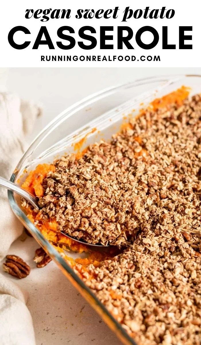 Pinterest graphic with an image and text for sweet potato casserole.