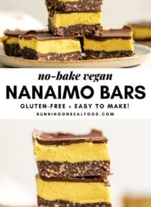 Pinterest graphic with an image and text for vegan Nanaimo Bars.