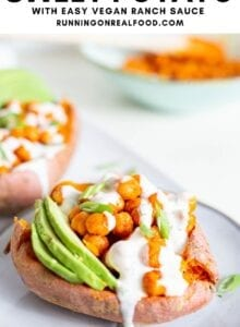 Pinterest graphic with an image and text for buffalo chickpea sweet potatoes.