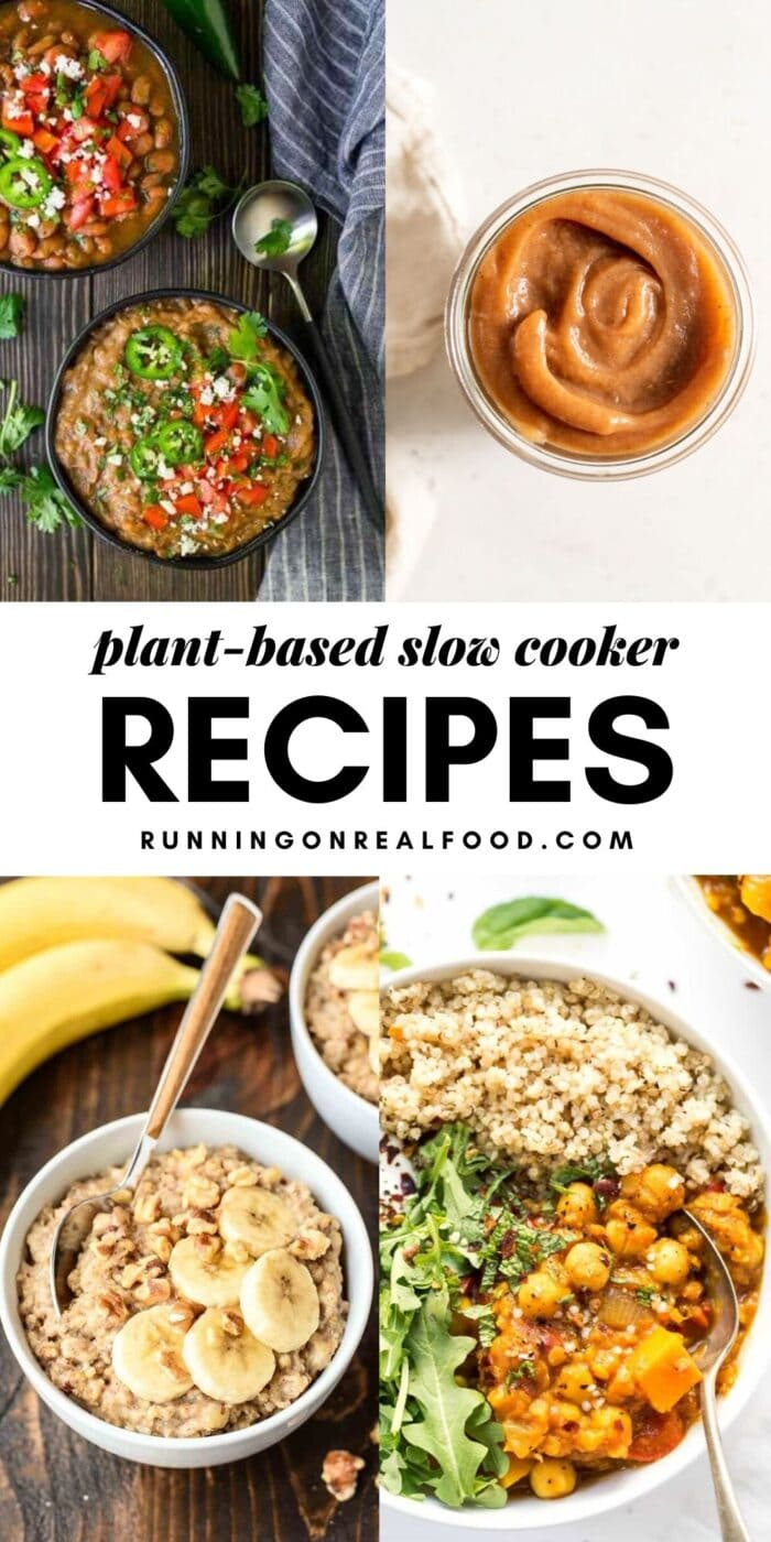Pinterest graphic with images and text overlay reading Plant-Based Slow Cooker Recipes.