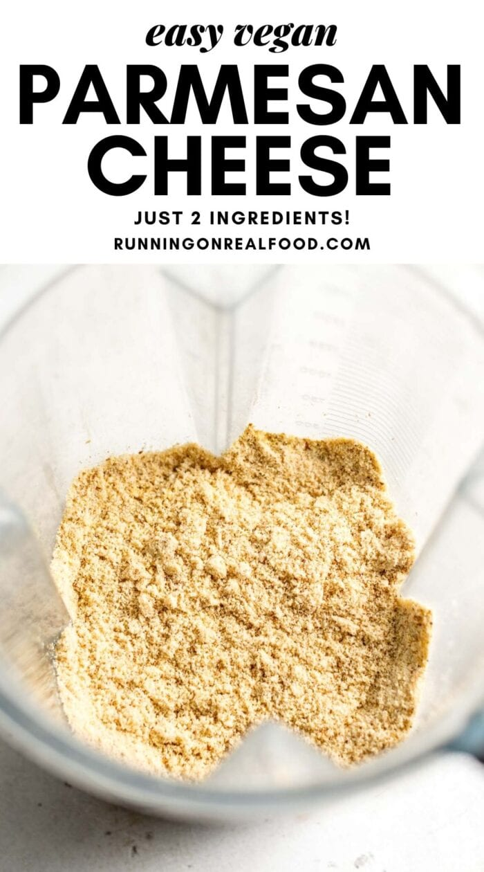 Pinterest graphic with an image and text for vegan parmesan cheese.