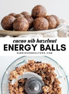 Pinterest graphic with an image and text for cacao energy balls.