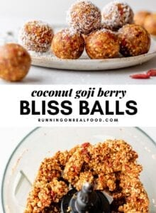 Pinterest graphic with an image and text for goji berry bliss balls.