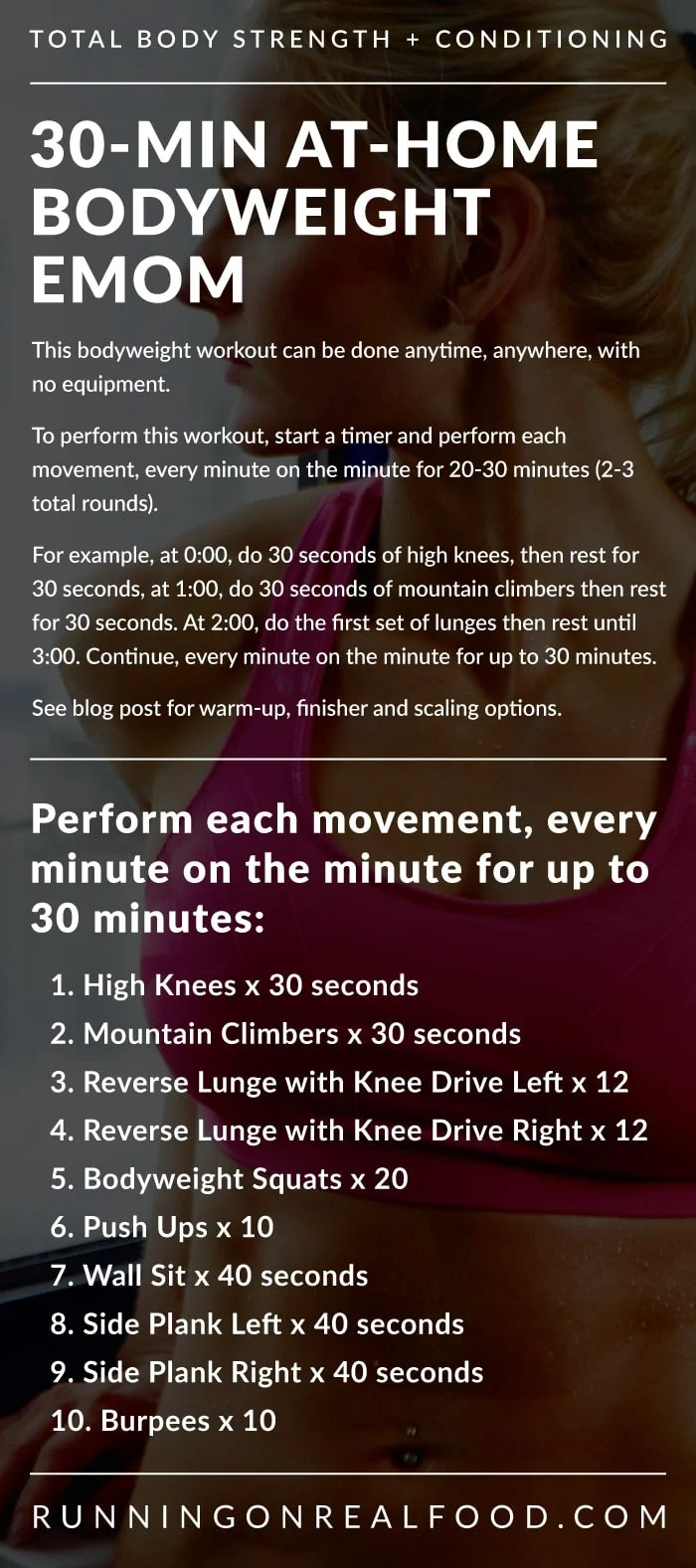 Text instructions for a 30-minute at-home bodyweight EMOM workout.