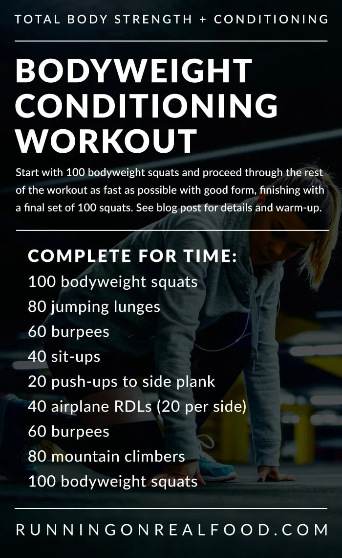 Text instructions for a no-equipment bodyweight workout.