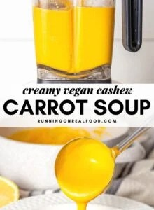 Pinterest graphic with an image and text for creamy cashew carrot soup.