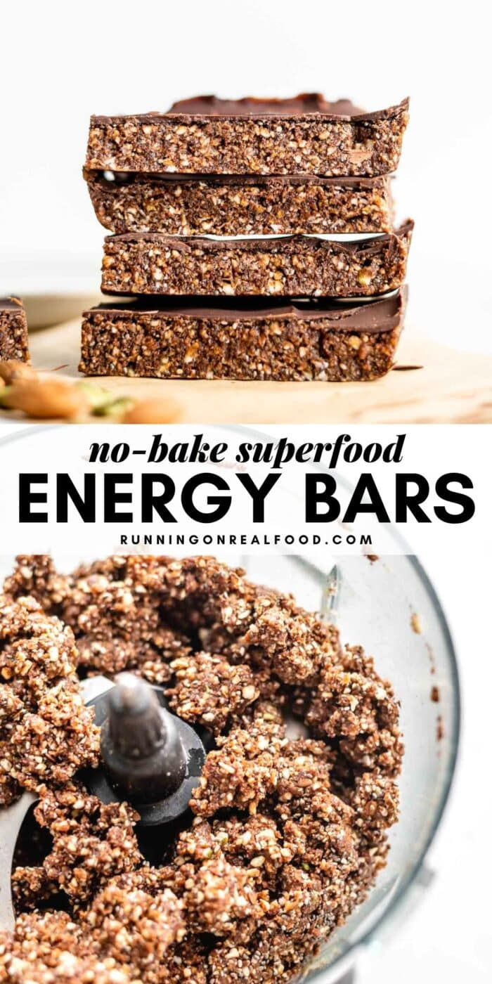 Pinterest graphic with an image and text for no-bake superfood energy bars.