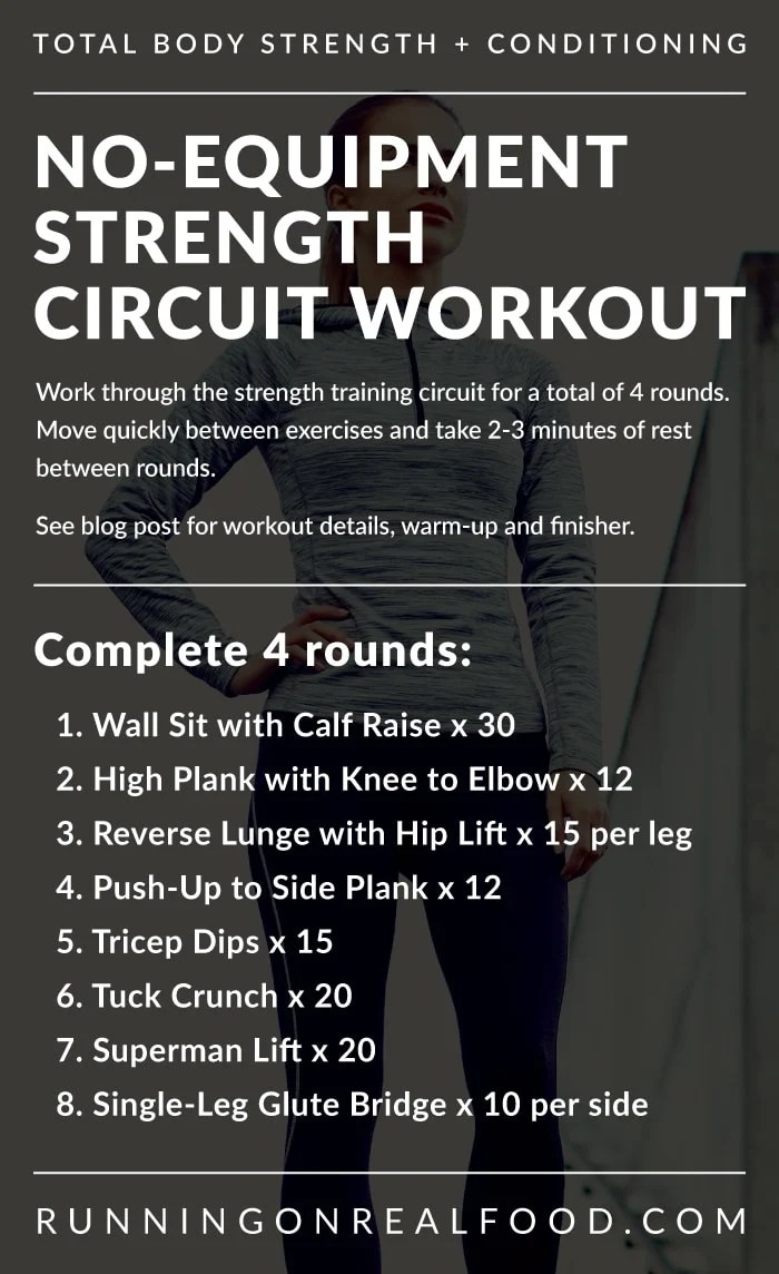 Text instructions for a no-equipment strength training circuit workout.